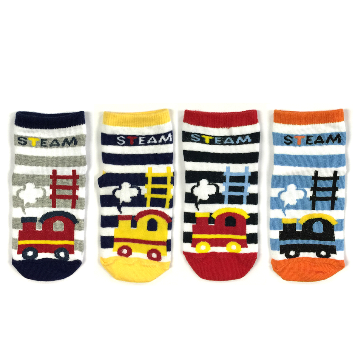 Wrapables® Full Steam Ahead Train Socks (Set of 4)