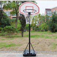 Zimtown 5.4'-6.7' Height Adjustable Basketball Hoops, Movable / Portable Basketball Goals System with Net, Rim, Backboard, for Teen Outside Backyard Playing