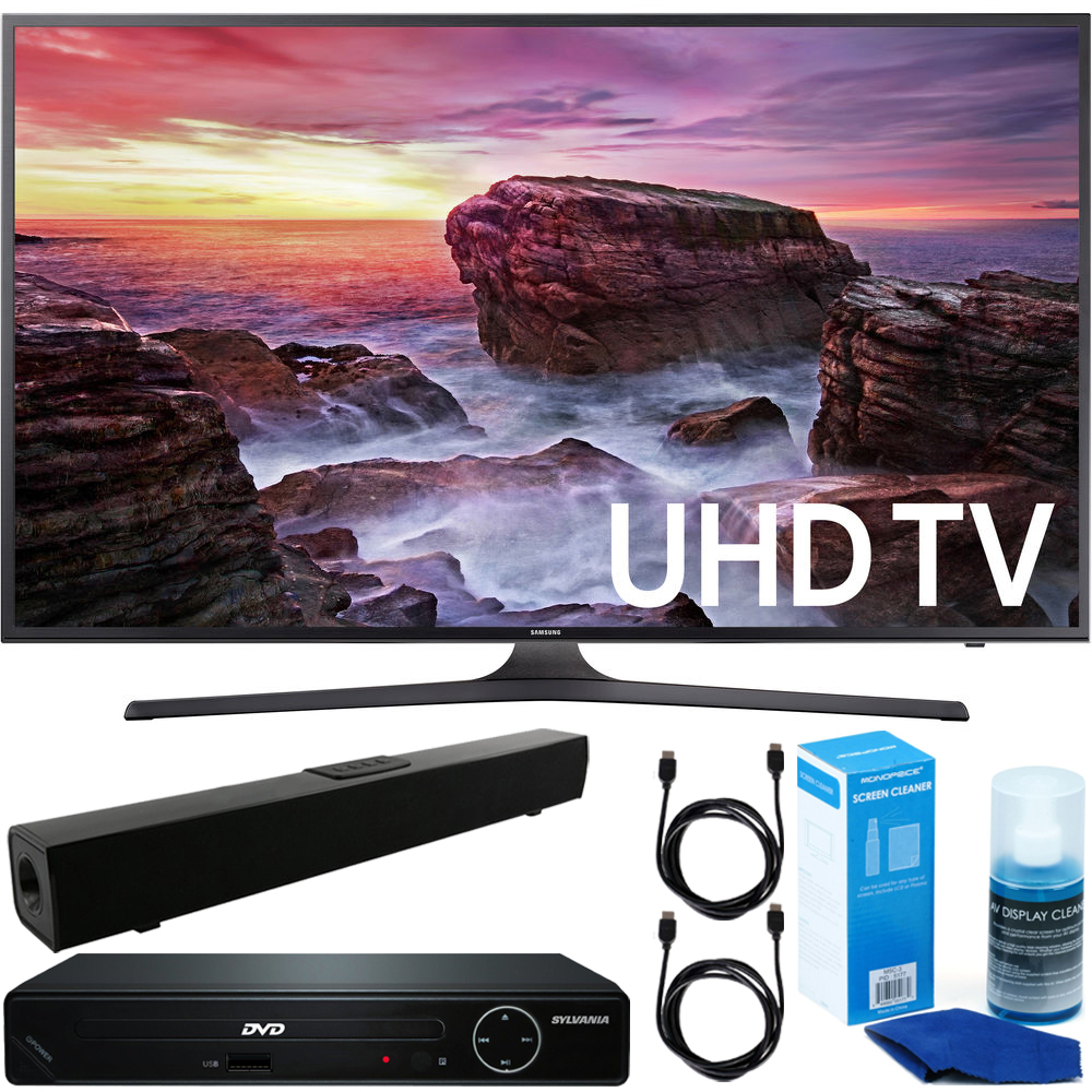 "Samsung (UN40MU6290) Flat 40"" LED 4K UHD 6 Series Smart TV (2017l) w/ HDMI 1080p HD DVD Player + Solo X3 Bluetooth Home Theater Sound Bar + 2x 6ft HDMI Cable + Universal Screen Cleaner for LED TVs"