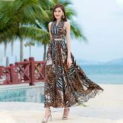 Lumana Summer Women's Dresses Sexy Leopard Print Halterneck Big Swing Dress Outdoor Beach Breathable Long Skirt - image 4 of 4