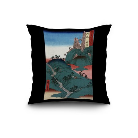 Kanesaka of Tanba Japanese Wood Cut Print 20x20 Spun Polyester Pillow