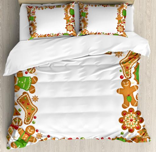 Kids Christmas King Size Duvet Cover Set, Sweet Taste of Xmas Season Frame with Gingerbread Cookies and Biscuits, Decorative 3 Piece Bedding Set with 2 Pillow Shams, Red Green Brown, by Ambesonne