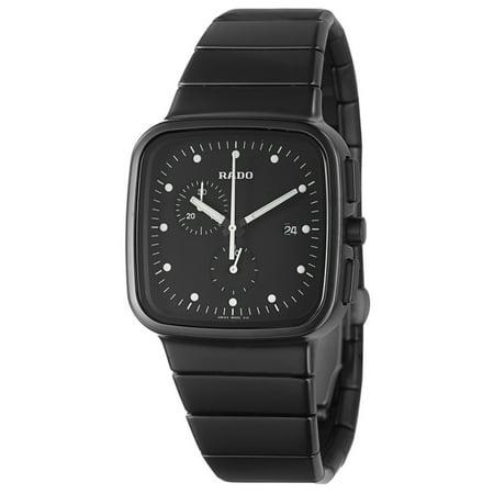 Rado R5.5 Chronograph Square Black Ceramic Mens Watch Date Quartz (Mid Date Chronograph 30 Meters)