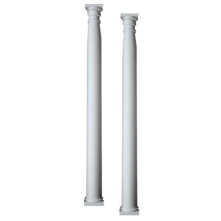 "10 3/8""W x 96""H x 6""P Half Round Column Pilaster, Adjustable from 80"" to 96"" (Set of 2)"