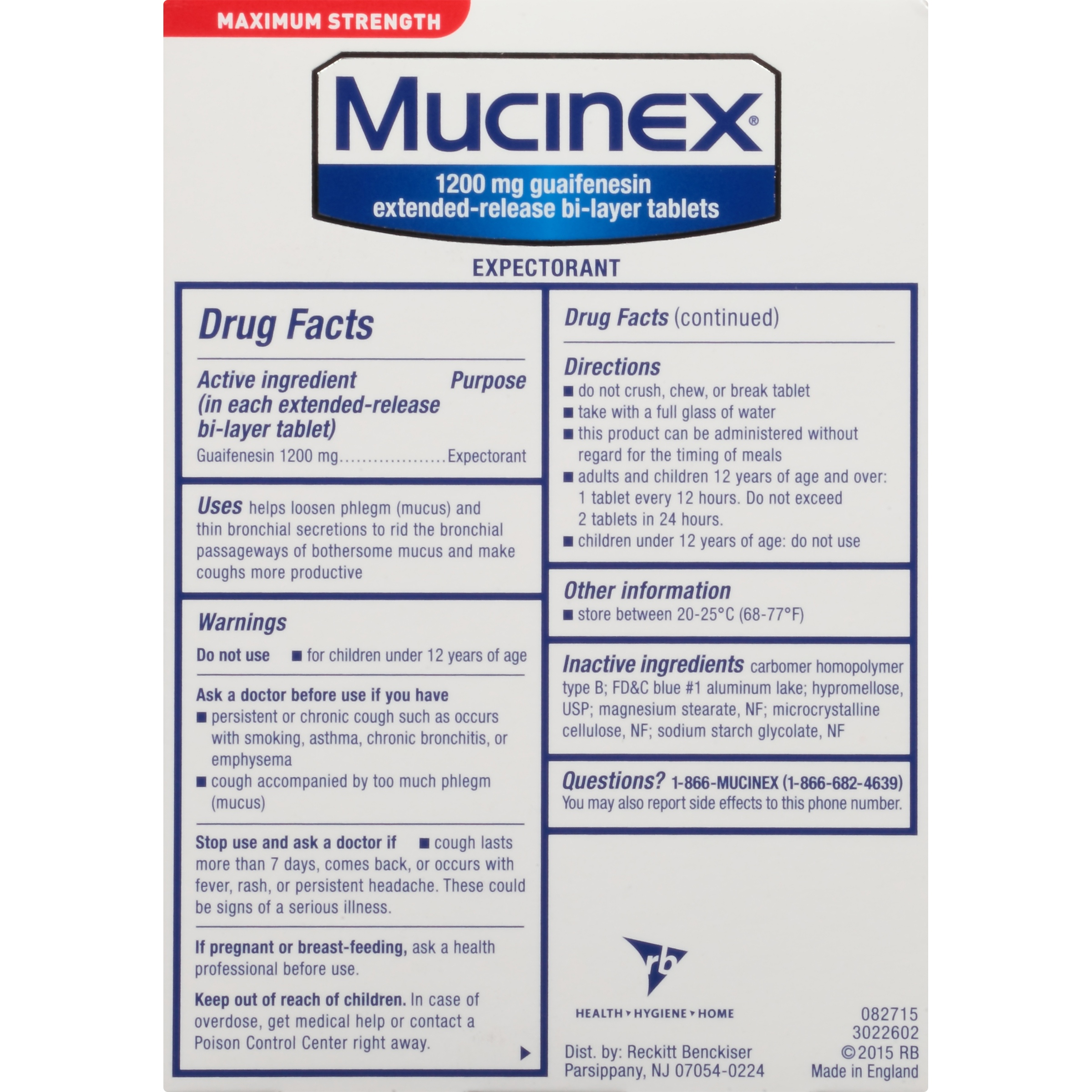 Mucinex Maximum Strength 12 Hour Expectorant Tablets, Chest Congestion  Relief, 1200 mg Guaifenesin, 28 Count