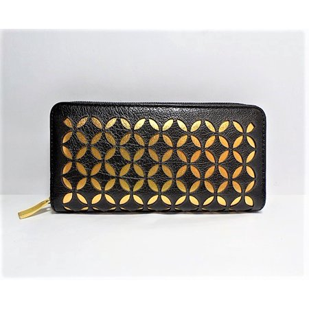 Gold Coast Leather (Gold Coast Women's Faux Leather Fashion Wallet in Black/Gold )