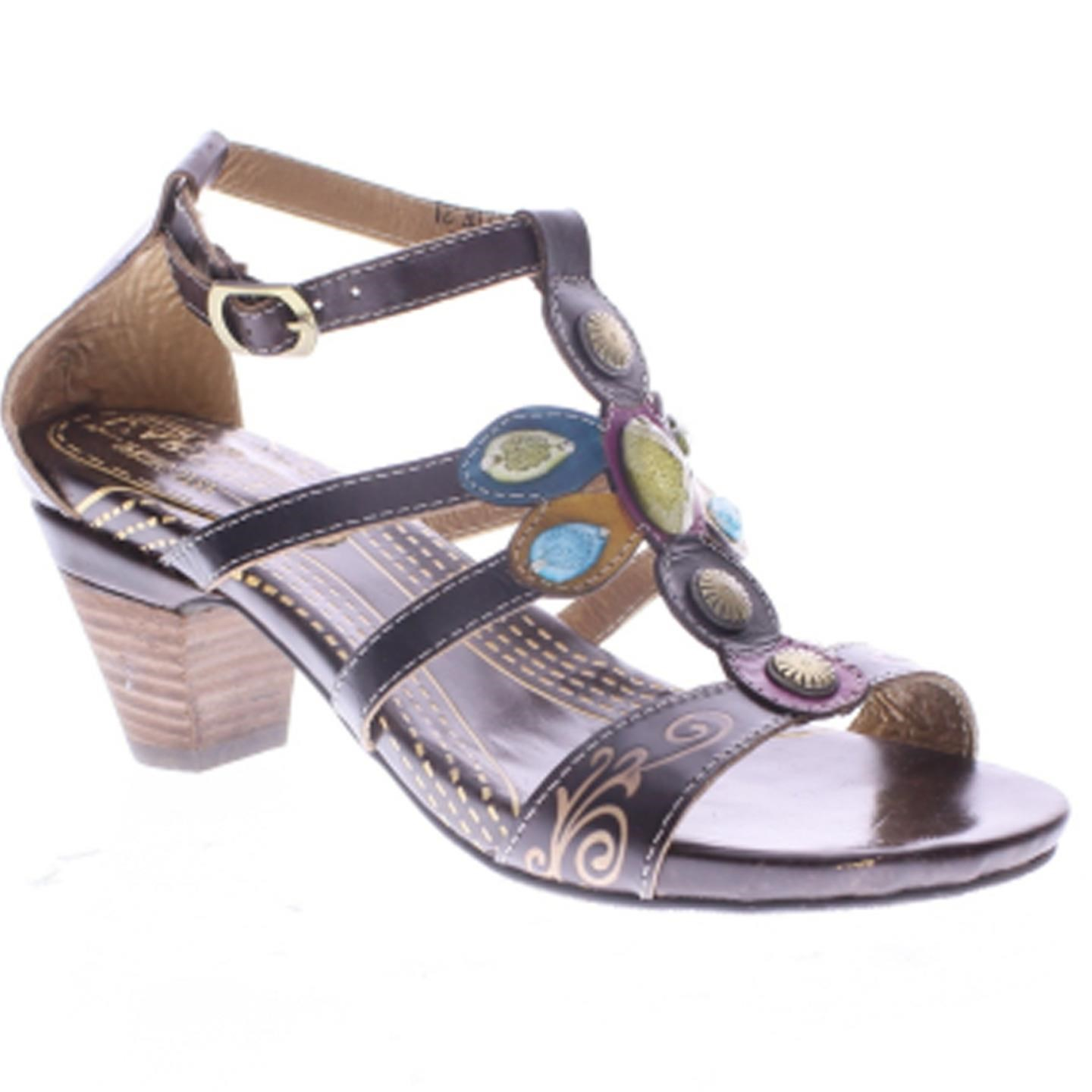 L'Artiste Frenzie By Spring Step EU Brown Leather Sandal 39 EU Step / 8.5 US Women 707eec