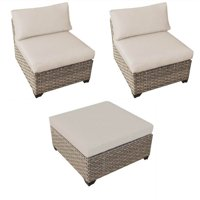 3 Piece Patio Furniture Set with 2 Monterey Armless Sofas and Patio Wicker Ottoman in Beige
