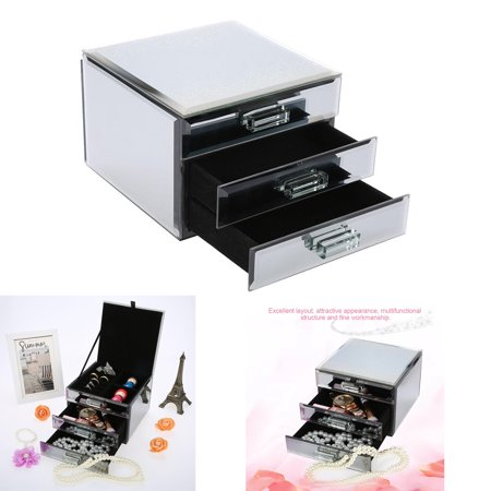 Hilitand 3 Layers Mirrored Jewelry Box Trinket Storage Make-up Container Case Drawer, Jewelry Case,Jewelry Box