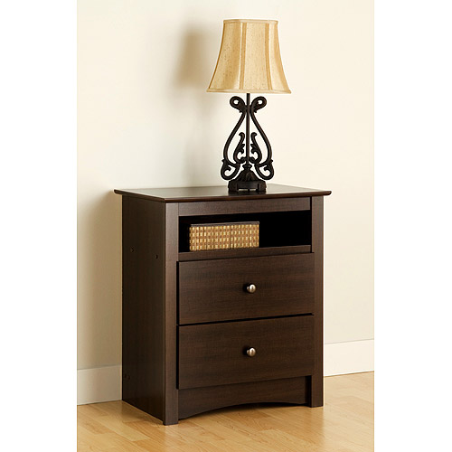 Edenvale 2-Drawer Tall Nightstand With Open Cubbie, Espresso by Prepac