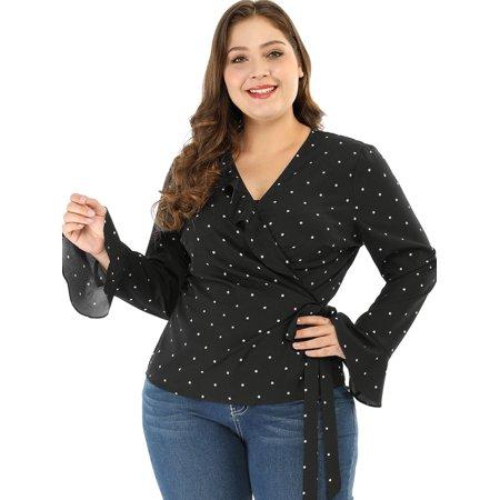 Unique Bargains Women's Plus Size Polka Dot Wrap Top V Neck Tie Waist Tops (Size 2X) Black (Plus Size Bargains)