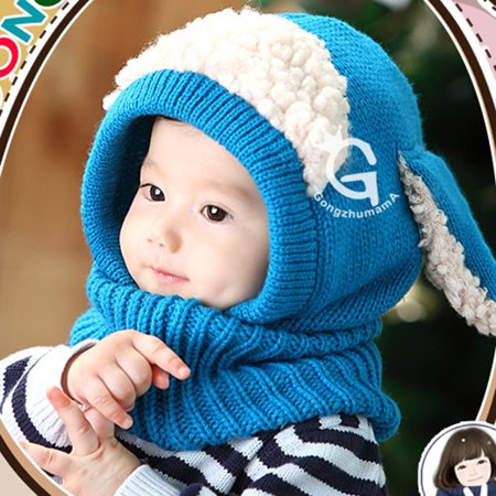 3e9ccbe9c224 Winter Baby Kids Girls Boys Warm Woolen Coif Hood Scarf Scarves Caps ...