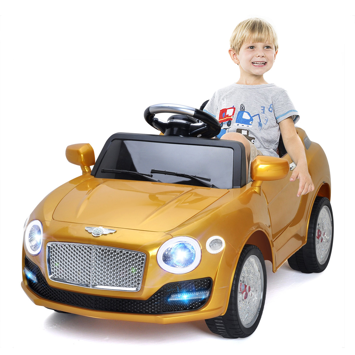 Costway 6V Kids Ride On Car Electric Battery Power RC Remote Control & Doors w/ MP3 Red/White/Golden