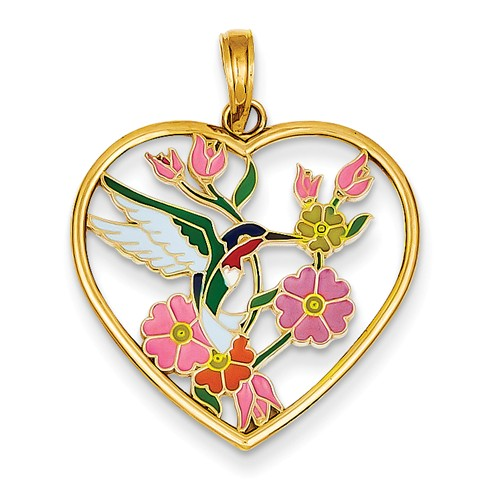 14k Yellow Gold Enameled Hummingbird w/ Flowers Heart Pendant.