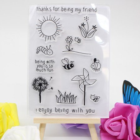 Siaonvr Alphabet Transparent Silicone Clear Rubber Stamp Sheet Cling Scrapbooking DIY B Cline Scrapbooking Page Protector
