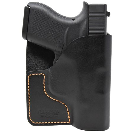 Premium Stitch Black Italian Leather Pocket Holster for Glock 43 Crimson Trace Glock Grips