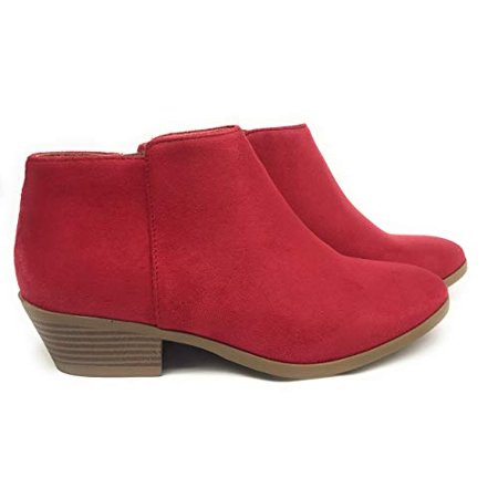 c7f81d8986784 Cape Robbin - Soda Women s Western Ankle Bootie w Low Chunky Block Stacked  Heel Lipstick Red (7) - Walmart.com