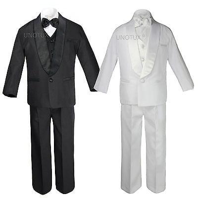 Baby Kid Teen Wedding Black White Pick Formal Shawl Lapel Tuxedo Boy Suit S-20 ()