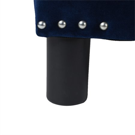 Jules Square Accent Footstool Ottoman Navy Blue - image 6 of 9