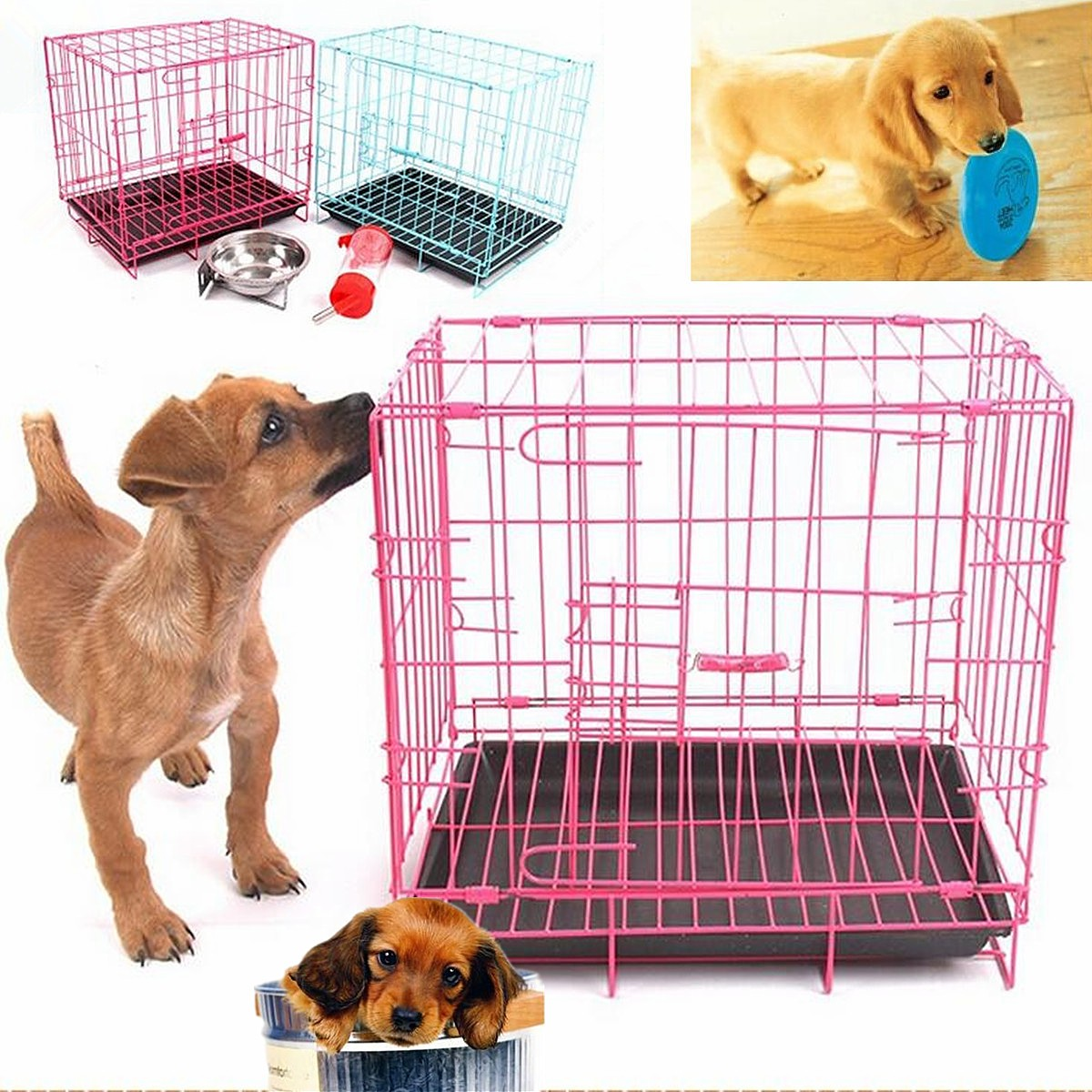 "19.69""x13.78""x16.93"" Dog Crate with Tray Foldable Metal Pet Cage Kennel House For Cat Dog Small Animals"