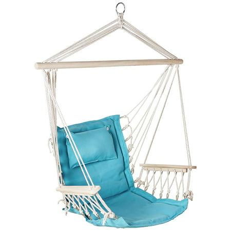 Backyard Expressions Outdoor Hammock Chair - Hanging Chair Hammock Swing - Solid Aqua Blue ()