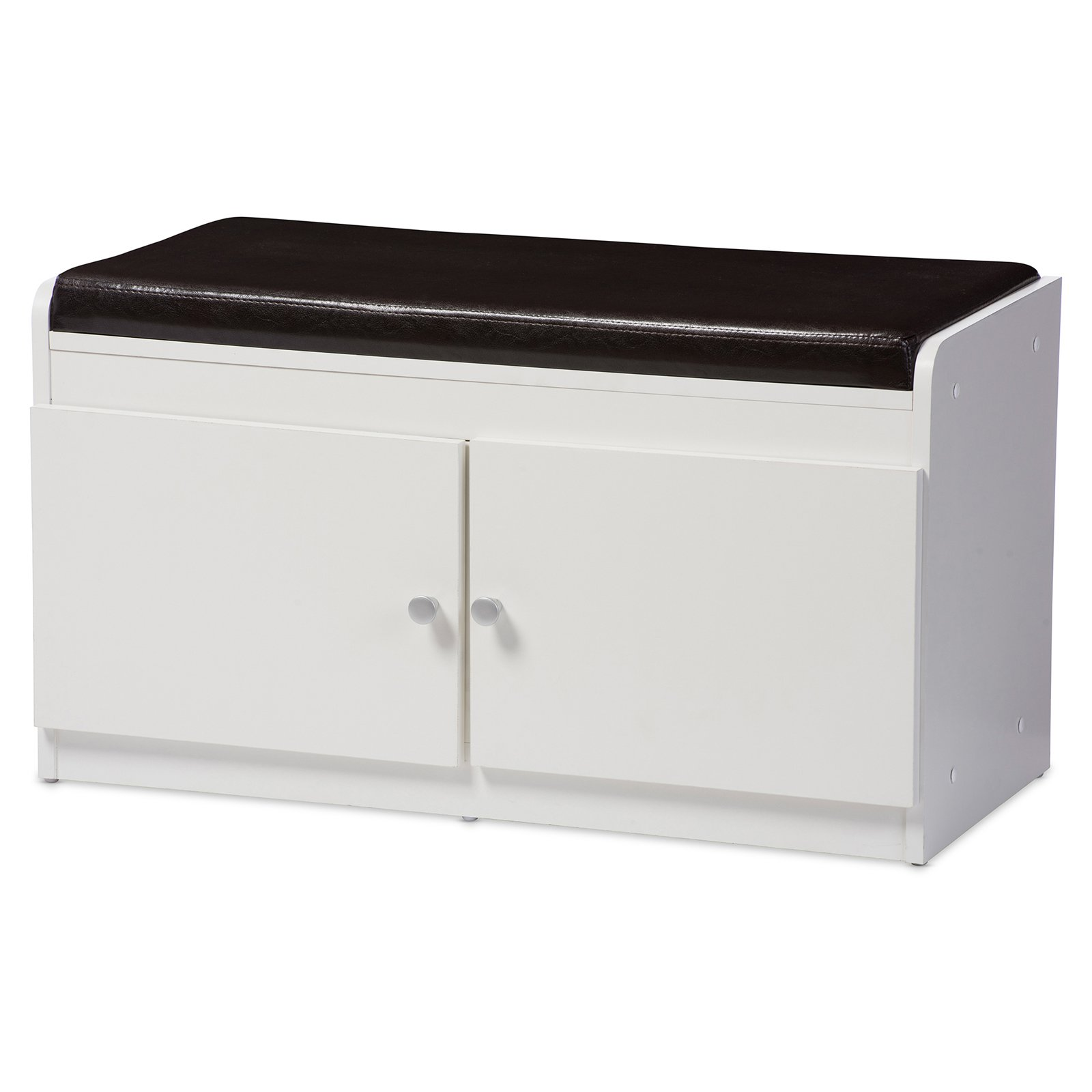 Baxton Studio Margaret Modern and Contemporary White Wood 2-Door Shoe Cabinet with Faux Leather Seating Bench by Wholesale Interiors