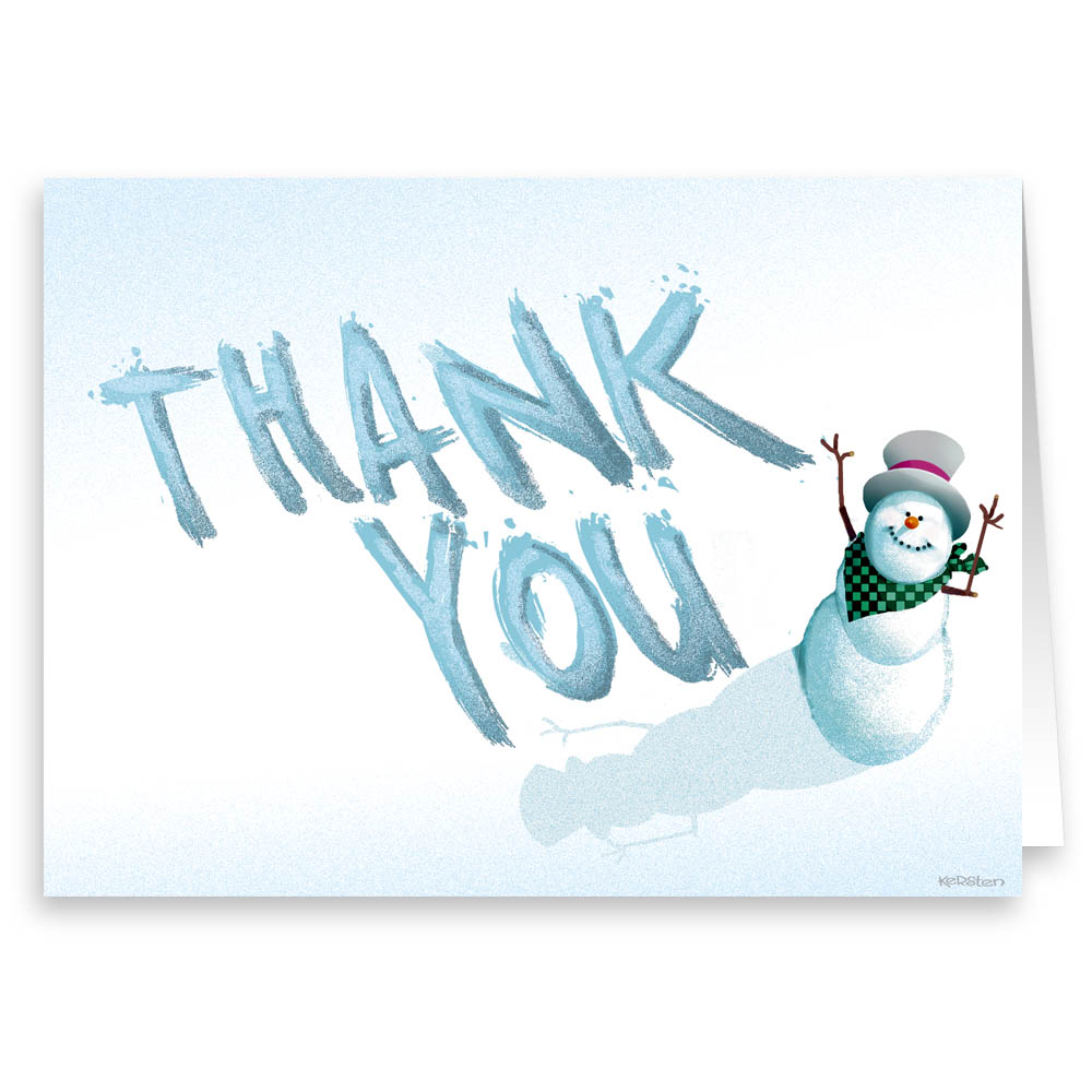 Holiday Note Cards - Snowman Thank You Note Card - 18 Boxed Cards & Envelopes
