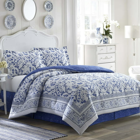 Laura Ashley  Charlotte Blue and White Floral Cotton 4-Piece Comforter Set - Laura Ashley Bedding Standard Comforter