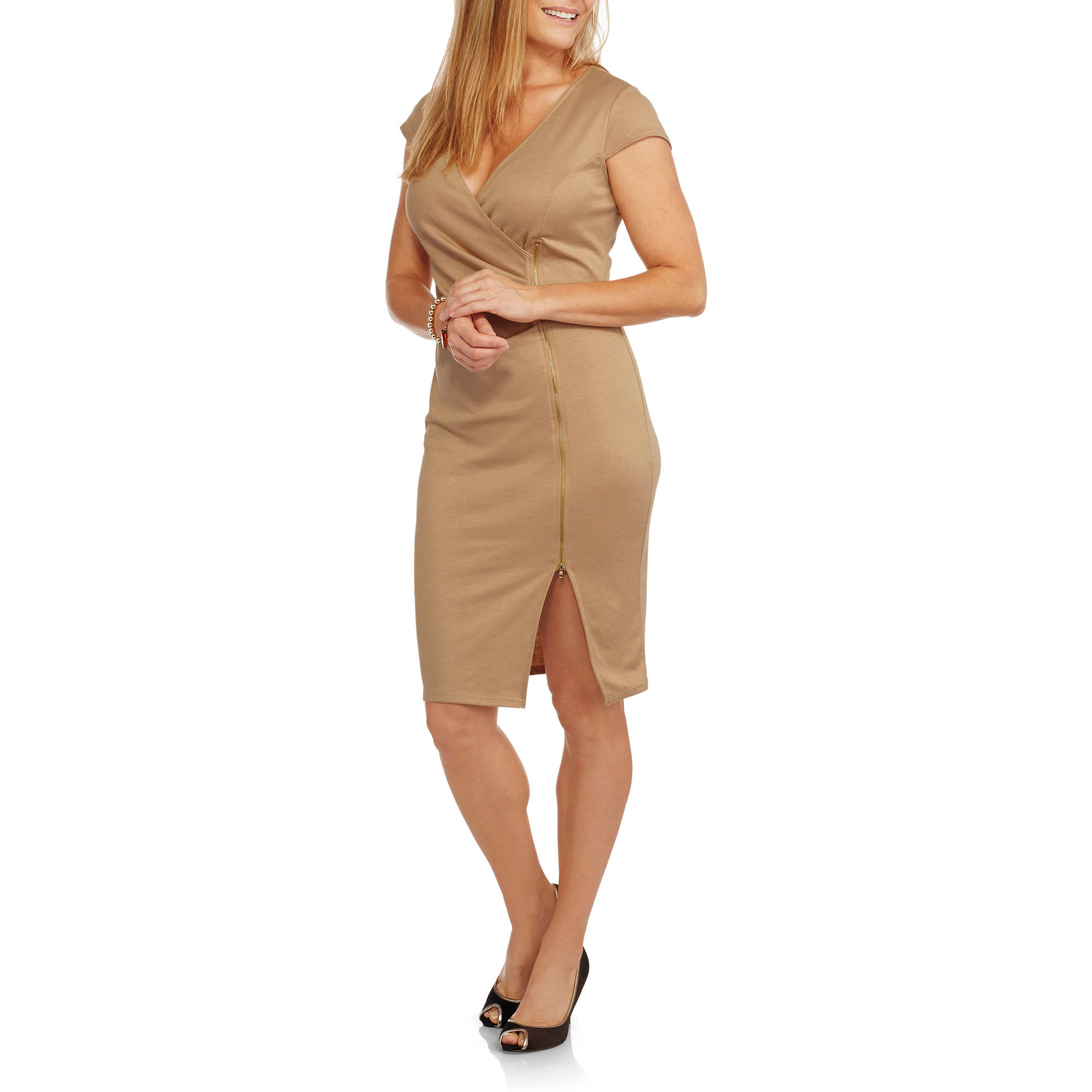 9th Street Apparel Women's Zipper Front Wrap Dress