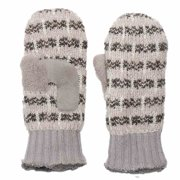 Isotoner Womens Chunky Gray & Black Stripe Knit Mittens with Sherpasoft Lining