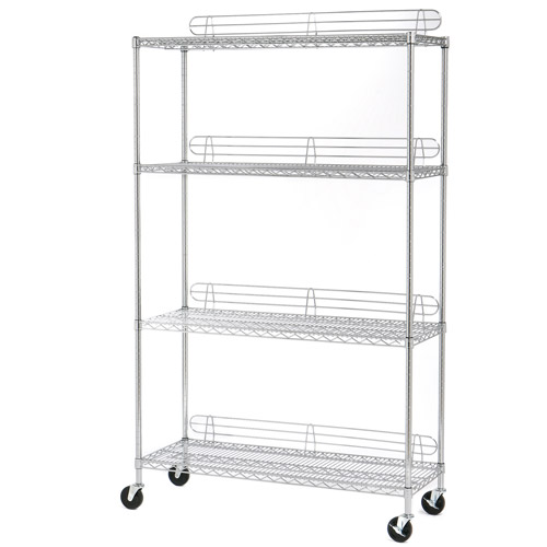 Seville Classics 4-Shelf Steel Wire Shelving System with Wheels/Ledges