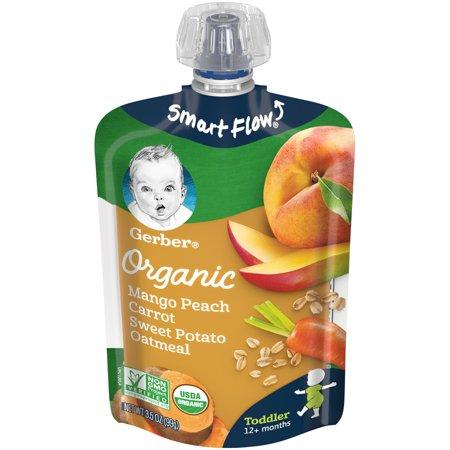 Gerber Organic Mango Peach Carrot Sweet Potato Oatmeal, 3.5 oz Pouch (Pack of 12)