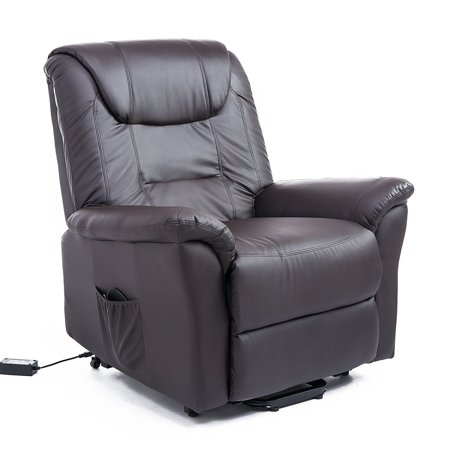 HOMCOM Luxury Faux Leather Three Position Lift Chair Recliner With Remote - Dark Brown