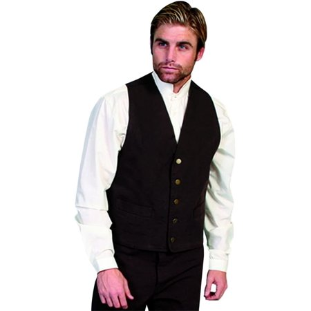 Scully Western Vest Mens Lined No Lapel Five Button Front RW041N](Western Vests)