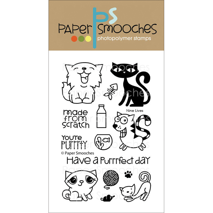 Paper Smooches Clear Stamps, 4 by 6-Inch, 9 Lives Multi-Colored