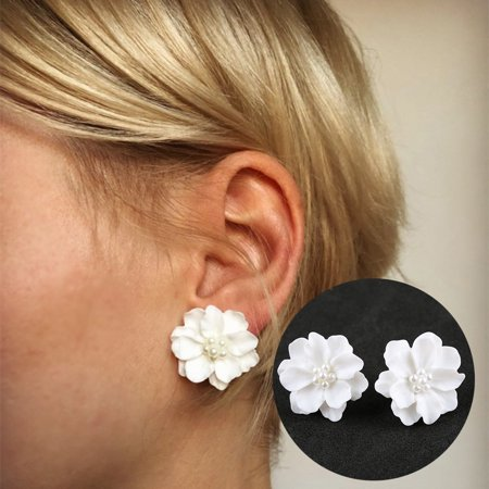 Girl12Queen Elegant Resin Flowers Faux Pearls Women Earrings Ear Studs Dating Party Jewelry
