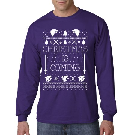 Trendy USA 781 - Unisex Long-Sleeve T-Shirt Christmas Is Coming Game Of Thrones Stark XL Purple