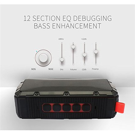 Bricktoon V3 Portable 4.0 Bluetooth 10W Wireless Speaker - FM Stereo - Enhance Bass - Micro SD Player - IPX6 Waterproof 12 hrs Playback - Outdoor/Indoor Durability - Hands Free Speakerphone Mic - image 2 de 4