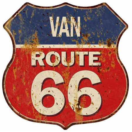VAN Route 66 Personalized Shield Metal Sign Man Cave Red - Vans Personalized
