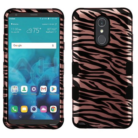 LG Stylo 4 Phone Case Tuff Hybrid Shockproof Impact Rubber Dual Layer Hard Soft Protective Hard Case Cover Zebra Rose Gold Phone Case for LG Stylo 4