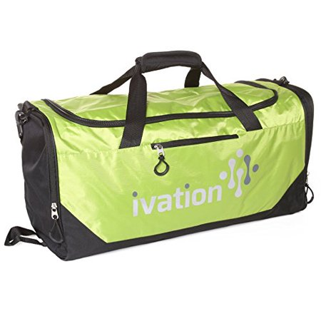 Ivation Sports Gym Duffel Bag 100% Water Repellent Polyester Ideal for Gym Fitness Camping Track Traveling & More Bright Yellow/Lime - image 7 de 7