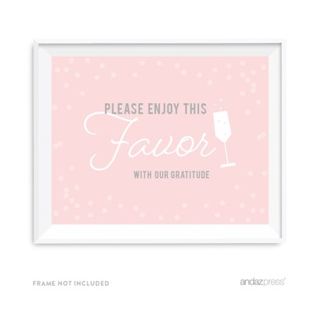 Please Enjoy Favor With Our Gratitude Blush Pink and Gray Pop Fizz Clink Wedding Party Signs - Pop Fizz