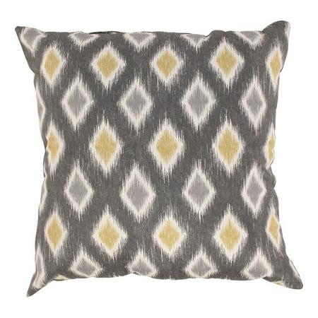 Eco-Friendly Graphite & Chartreuse Diamond Square Throw Pillow 16.5