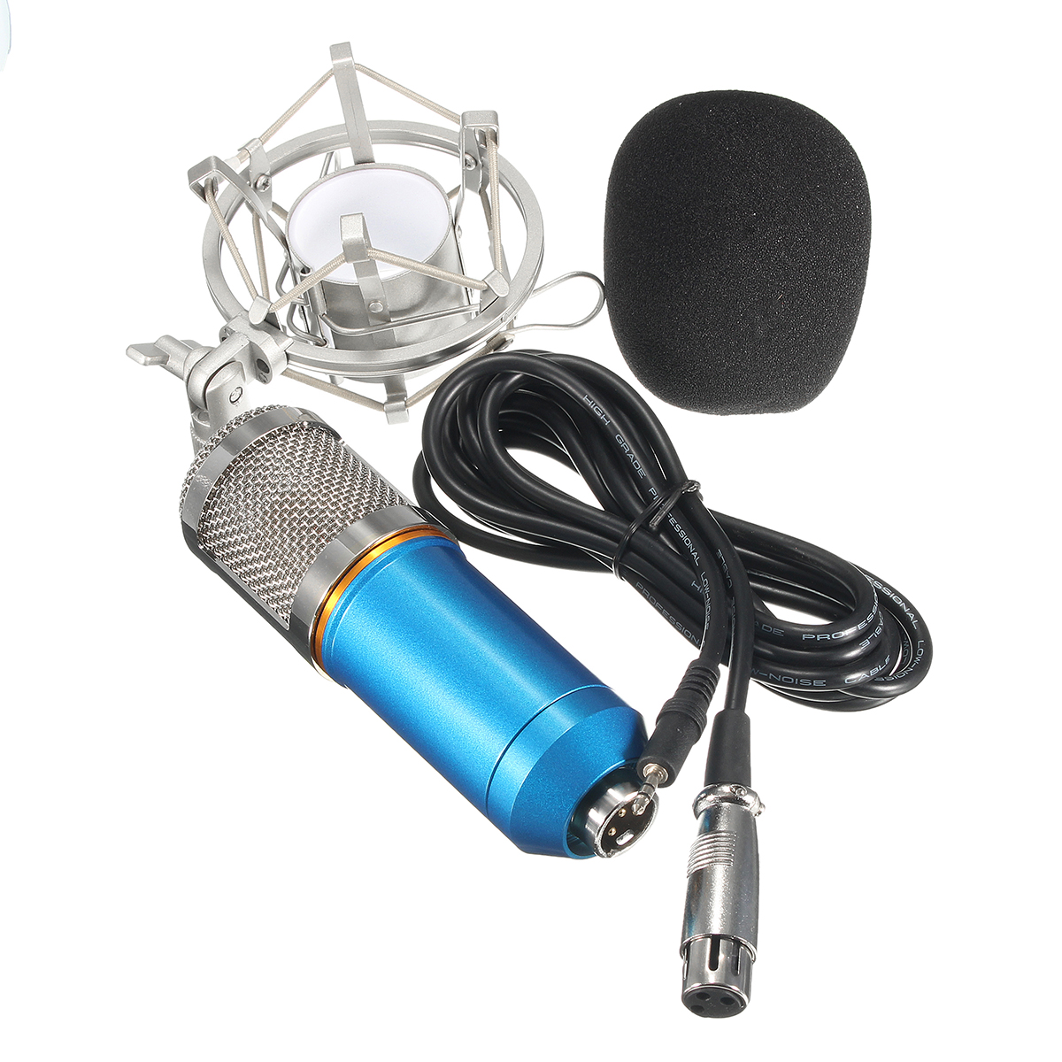BM-800 Studio Recording Condenser Microphone with Shock Mount Holder, Audio Cable, BOP cover