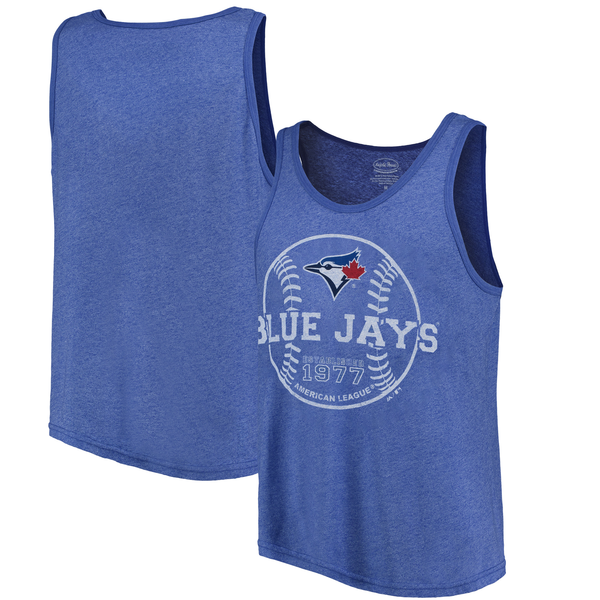 Toronto Blue Jays Majestic Threads The Stretch Contrast Tri-Blend Tank Top - Heathered Royal