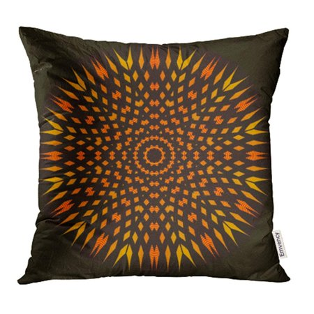 ARHOME Colorful Orange Black Yellow Symmetrical Flower Star Floral Intricate Circle Oval Pillow Case Pillow Cover 18x18 inch Throw Pillow Covers](Yellow Star)