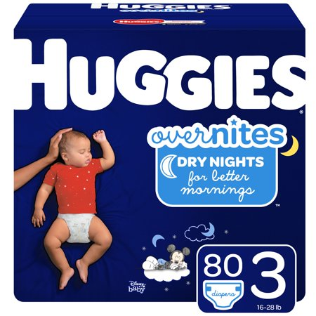 HUGGIES OverNites Diapers, Size 3, 80 Count