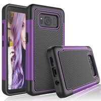 Galaxy S8 Active Case, S8 Active Cute Case, Tekcoo [Tmajor] Shock Absorbing [Purple] Rubber Silicone & Plastic Scratch Resistant Bumper Grip Hard Cases Cover For AT&T Samsung Galaxy S8 Active