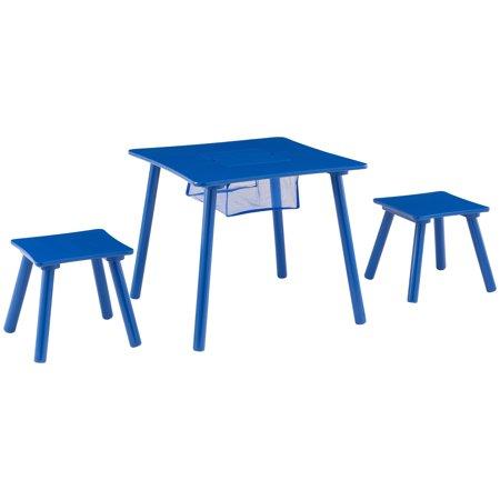 Mainstays Kids Wood Play Table & 2 Stools Set with Net Storage, Multiple (Wood Play Table)