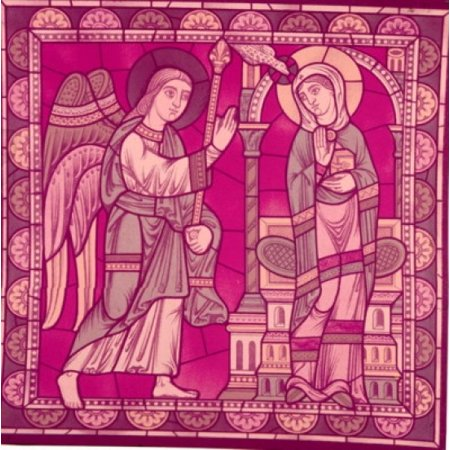 Century Stained Glass - Annunciation  stained glass window  France  Chartres  Chartres Cathedral  12th Century Poster Print